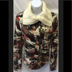 MYSTREE Zip Mock Collar Jacket Cardigan Sweater
